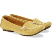 Clarks Evesham Melody Honey Nubuck Slip On shoes(Yellow)