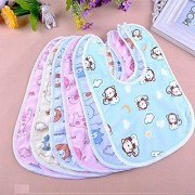 MOM SON New Born Baby Multicolor Waterproof Cotton Bibs-(Pack of 6 Fast Dry Bibs).