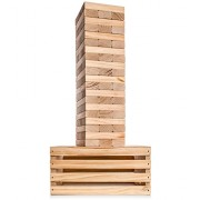 Giant Tower Game (60 Blocks) with 2-in-1 Storage Crate / Game Table | Stacks up to 5ft During Gameplay | Wedding Guestbook Alternative | XXL Jumbo Wood Stacking Game | Carrying Case | Indoor Outdoor