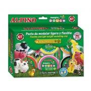 Kit 6 culori x 40gr plastelina magica + 4 seturi accesorii, ALPINO Animals