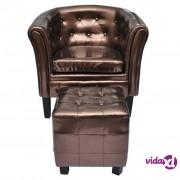 vidaXL Fotelja od umjetne kože s osloncem za noge smeđa