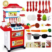 Baybee Battery Operated Kids Kitchen Play Set with Light & Sound Cooking Kitchen Set Play Toy 32 Pcs Cook Fun