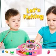 Smartpick Fish Toys, Fishing Game Set, Piano Toy Double Layer Magnetic Musical Rotating Board 26 Fishes 4 Fishing Rods for Kids 3 4 5 6 Years Old ( Colour May Vary )
