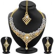 Sukkhi Astonish Gold Rhodium Plated AD Necklace Set For Women