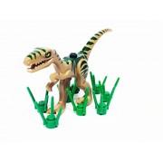 Lego Dinosaur Coelophysis/Raptor - Dark Tan with Dark Green Markings and Grass Stems
