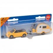 Siku Spel Speelgoed Auto Met Caravan Pull Back voor kinderen - Geel