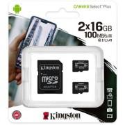 Kingston Canvas Select Plus Duopack Micro SD Kaart 10 UHS-I 16GB Opslagc