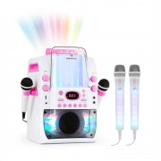 auna Kara Liquida BT Rosa + Dazzl Mic Set Impianto Karaoke Microfono Illuminazione LED