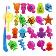 Alcoa Prime 22Pcs Magnetic Fishing Toy Fish Model Set Bath Time Baby Kid Pretend Play