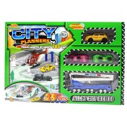 ZERBO TRACK SET City Planners - on Track Length of 180 cm, Drive Through the City in Toy Cars; 29 Pieced Playset