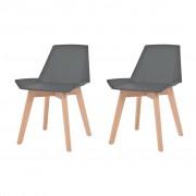 vidaXL Jídelní židle 2 ks šedé plastové sedáky, bukové nohy