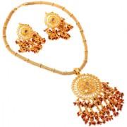 Jewar Mandi Pendant Set Kundan Pearl Polki Ad Cz Gemstones Handmade Work Gold Plated Jewelry for Women Girls