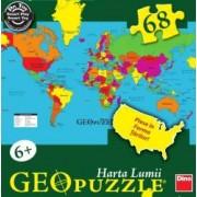 Puzzle geografic - Harta lumii 68 piese