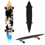 [pro.tec]® Monopatín Longboard para el cruising en la ciudad y el parque - 116x22x12cm - Skateboard (negro, naranja, azul con surfista)