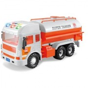Emob Huge Size Friction Powered Super Oil Tanker Realistic Toy with Light and Music Feature (Orange)
