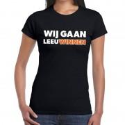 Bellatio Decorations Nederland supporter t-shirt Wij gaan Leeuwinnen zwart dames S - Feestshirts