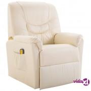 vidaXL Masažna fotelja od umjetne kože krem