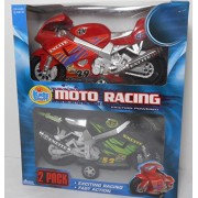 Made in China Moto Racing Friction Powered 2 Pack Racers - Red/W Blue Accents & Black W/Green