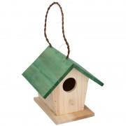 Lifetime Garden Houten vogelhuisje/nestkastje met groen dak 17 cm