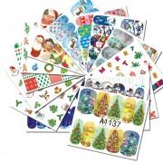 48 Stks Kleurrijke Gemengde Kerst Sneeuw Nail Sticker Water Transfer Volledige Wraps Manicure Tips Decals Nail Xmas Glitter CHA1129-1176 MyXL
