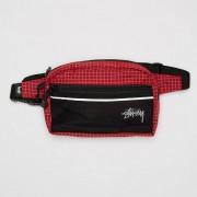 Stussy ripstop nylon waist bag Red