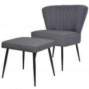 vidaXL Коктейлен стол с табуретка, тъмносив, текстил
