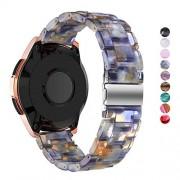 DELELE DEALELE Band Compatible Samsung Gear Sport, 20mm Resina con Henbilla Metálica Correa de Repuesto para Galaxy Watch 42mm / Active Mujer Hombre, Azul Hielo
