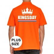 Bellatio Decorations Grote maten Koningsdag polo t-shirt oranje Kingsday voor heren
