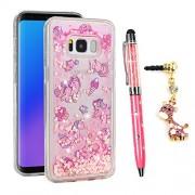 Galaxy S8 Case, Galaxy S8 Glitter Case Glitter Liquid Protective Bumper Case Floating Bling Sparkle Quicksand Pretty Fashion Design for Samsung Galaxy S8, Unicorn