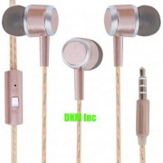 DKM Inc Limited Edition Rose Gold Universal Nylon Perfume Wire In Ear Earphones with Mic for HTC Phones