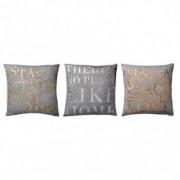 Set 3 Perne Decorative,Argintiu/Auriu/Gri, Jerseu, l40xL40 cm