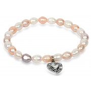 JwL Luxury Pearls Brățară fină din perle reale cu inimă metalică JL0293