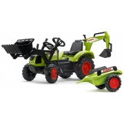 Tractor cu pedale FALK 2070 Claas Arion 430, cu cupă, excavator și remorcă