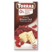 Ciocolata Alba cu Fructe Goji 75gr Torras