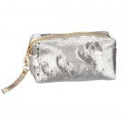 Merkloos Toilettas/make-up etui zilver met pailletten 18 cm