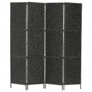 vidaXL Параван за стая, 4 панела, черен, 154x160 cм, воден хиацинт