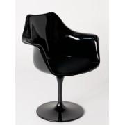 Replica Eero Saarinen Tulip Armchair-Black Fibreglass/Black cushion