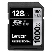 Lexar Professional 1000 x 128GB SDXC UHS-II/U3 Card (Up to 150MB/s read) LSD128CRBNA1000