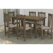 Mesa Rstica Madeira Macia com 6 Cadeiras Rubi Mveis Dolimar Rstico