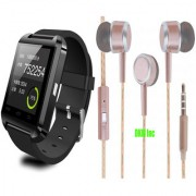 U8 Pro Black Bluetooth Smart Watch iOSAndroid Compatible with Limited Edition Rose Gold Earphones with Mic