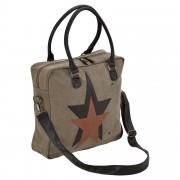 Corium® Дамска чанта от лен 40 x 40 x 10 см. сиво-кафява