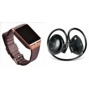Mirza DZ09 Smart Watch and Mini 503 Bluetooth Headphone for XOLO PLAY T 1000(DZ09 Smart Watch With 4G Sim Card Memory Card| Mini 503 Bluetooth Headphone)