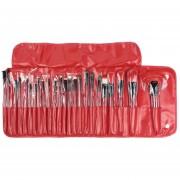 Powder Face Cosmetic Makeup Brush Set Kit De Herramientas (Rojo Vino)
