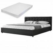 MyBed Cama tapizada acolchada + colchón 140x200cm negro cuero sintético - Calzada de Calatrava