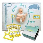 Milestone Blanket - Paturica pufoasa pentru fotografii si amintiri - nou nascuti si bebelusi - set cadou cu accesorii foto incluse - Girafa vesela
