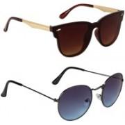 Marabous Cat-eye, Round Sunglasses(Brown, Blue)