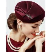 rosegal Vintage Leaf Embellished Artifical Wool Formal Pillbox Hat