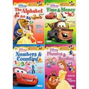 Numbers and Counting, Time and Money, Phonics and Reading, The Alphabet - Disney Adventures in Learning Educational Activity Workbook (Pack of Four (4) Workbooks)