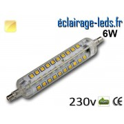 Ampoule LED R7S silicone 6w smd 2835 118mm blanc chaud 230v