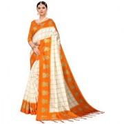 Indian Beauty Women's Orange Color Mysore Silk Printed Saree Border Tassels With Blouse Piece(WEDDING-JHUMKA-ORANGE_Free Size)